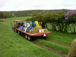 On May 8 we took the Ledge Tour group on a hay wagon ride.